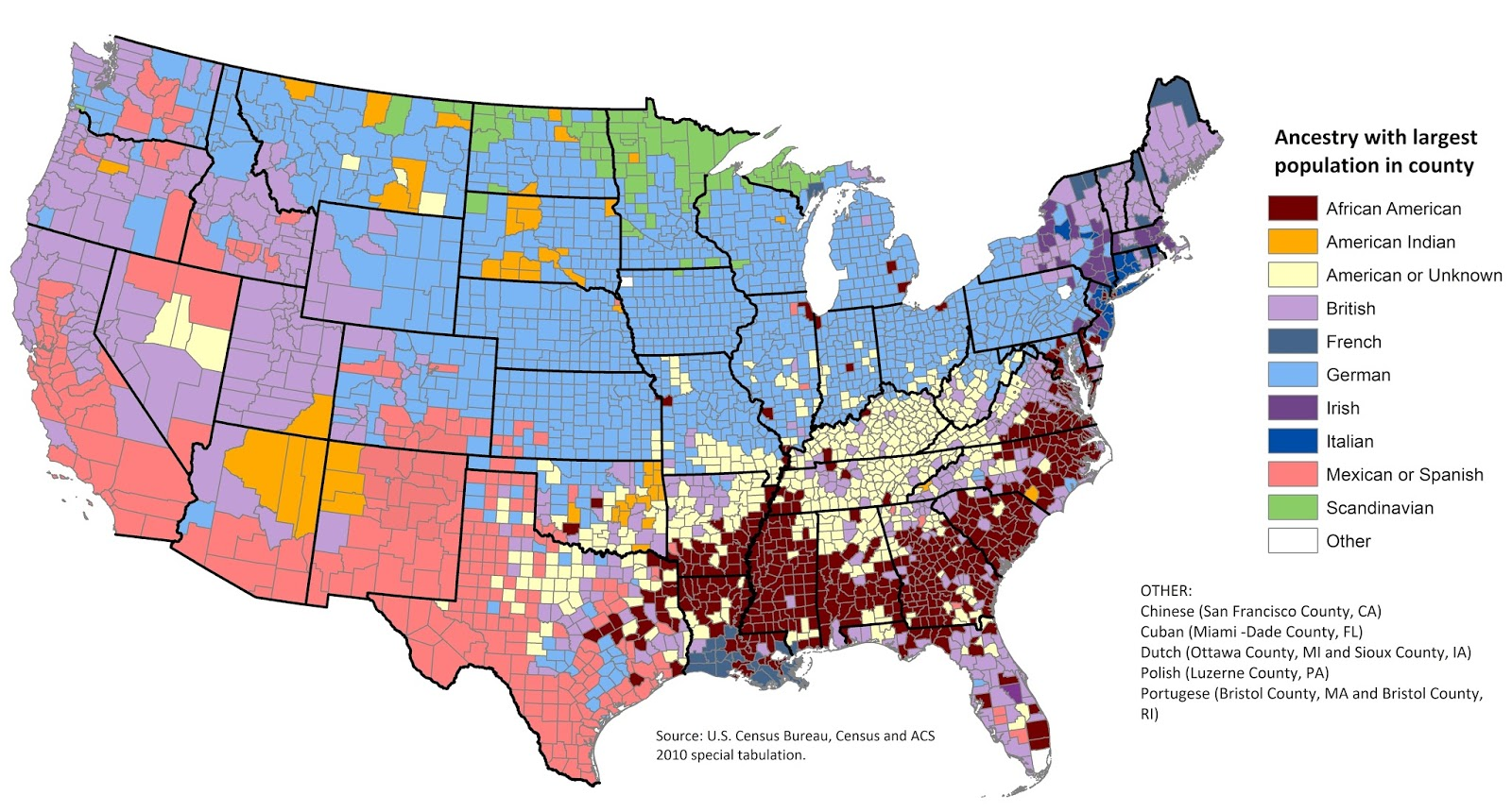 US most prevalent ancestry map (2010)