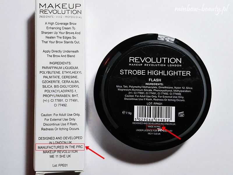 Makeup Revolution London Produkowane W Chinach Rainbow Beauty Blog