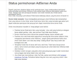 Penyebab konten tidak memadai saat mendaftar google adsense