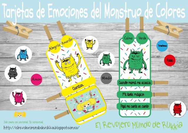 Tarjetas de Emociones del Monstruo de Colores