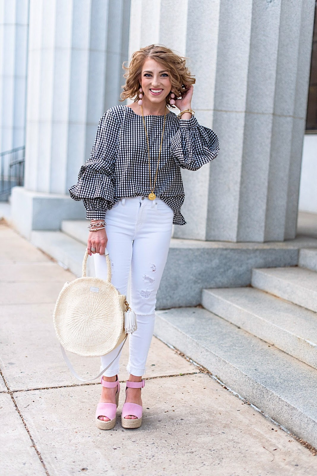 Black Gingham Top + Pink Wedges - Click through to see the full post on Something Delightful Blog