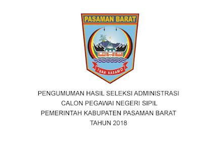 PENGUMUMAN HASIL SELEKSI ADMINISTRASI CPNS PEMERINTAH KABUPATEN PASAMAN BARAT TAHUN 2018