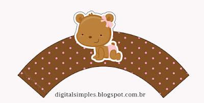 Wrappers para cupcakes de Osita Bebé.