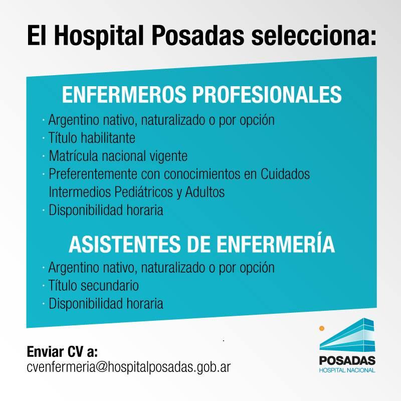 El Hospital Posadas selecciona enfermeros profesionales y asistentes ...