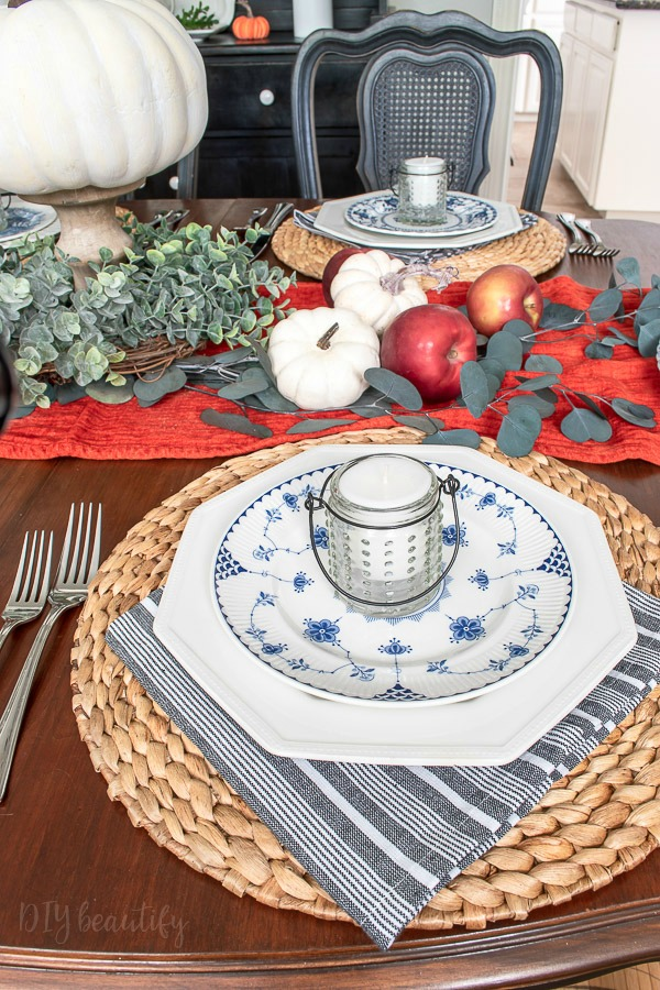 Thanksgiving table with vintage dishes
