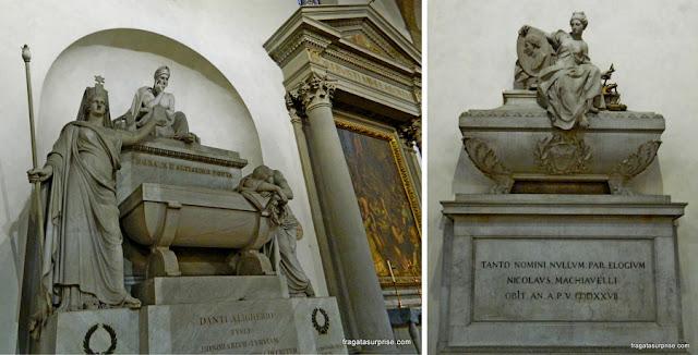 Florença - Basílica de Santa Croce - túmulos de Dante e de Maquiavel