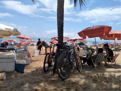 Fotografia colorida. Em primeiro plano, sobre a areia, ao centro, bicicletas encostadas ao tronco de um coqueiro.  Ao lado e mais atrás, muitas sombrinhas avermelhadas, brancas, azuis... e cadeiras de praia sobre as sombrinahs, com pessoas acomodadas. Por fim, o mar verde-azulado e o céu azul-claro com nuvens brancas.