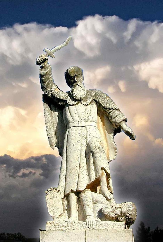 Santo Elias, Monte Carmelo, Terra Santa,  mosteiro de Elias, estátua onde exterminou os profetas de Baal.