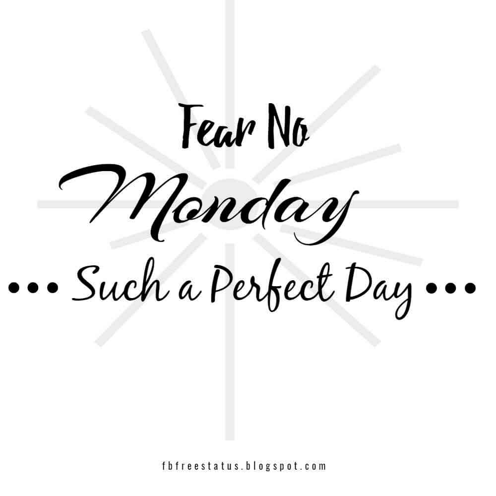 Fear no. Monday such a perfect day.