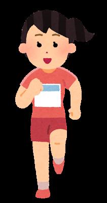 正面から見た走る女性のイラスト(半袖・ゼッケン付き)