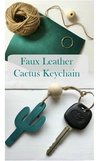 I am back with the Craft & Create with Cricut Challenge to bring you a Cactus Key chain made with faux leather