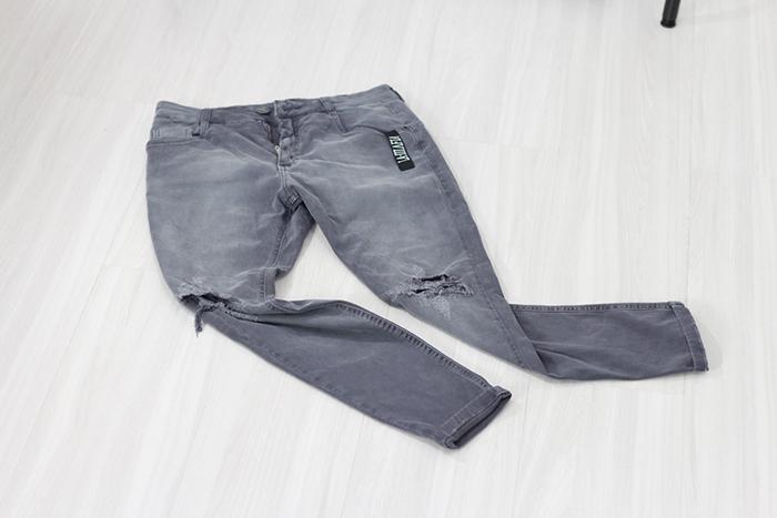 10b0818e356 calça jeans super skinny destroyed cinza