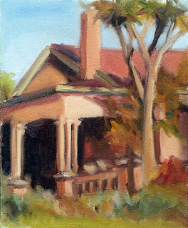Oil painting of an Edwardian-era house with a palm tree in front.