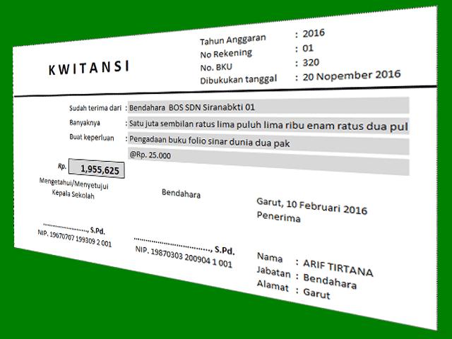 Download Aplikasi Cetak Kwitansi Sederhana Untuk Laporan SPJ BOS