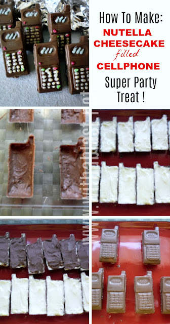 """Awesome sweet treat for kids parties ! Step-by-step on how to make Nutella Cheesecake filled """"Cellphones"""""""