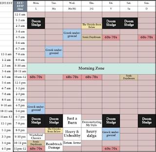 Downtuned Radio Weekly Schedule