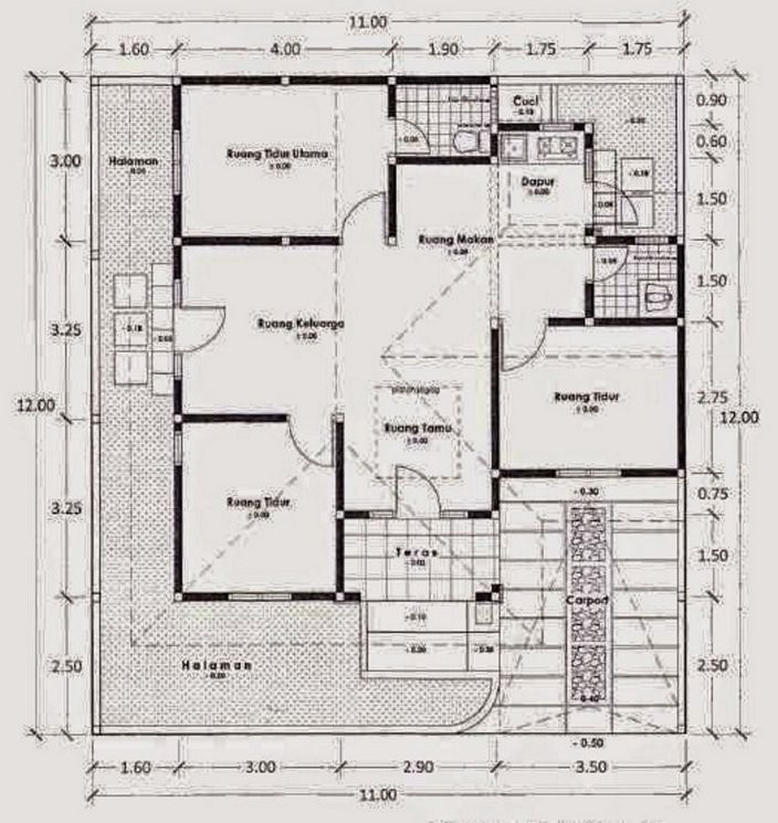 denah ruangan rumah sederhana yang terkini