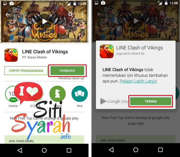 Cara update game android