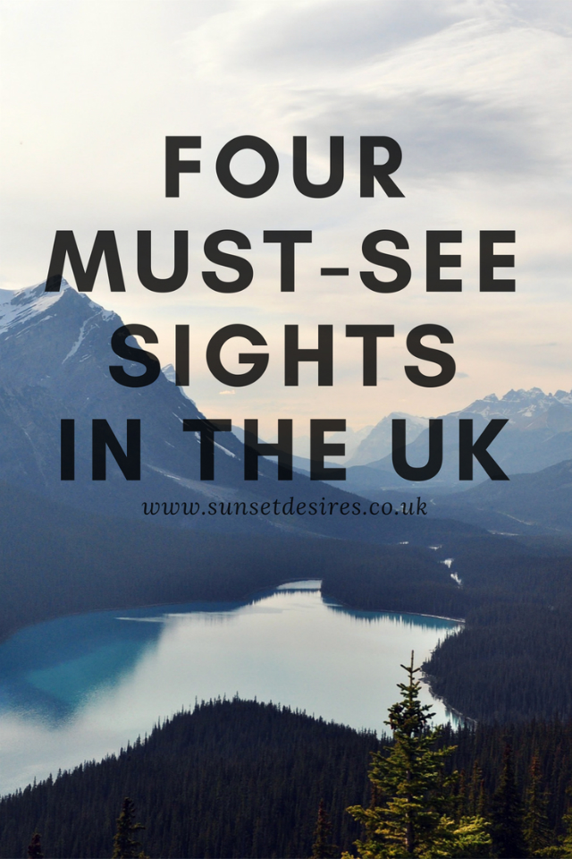 Banner showing lake district and text four must see sights in the UK.