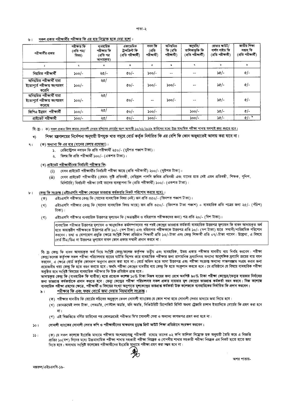 Jessore  Board HSC EXAM 2019 Form Fill-Up Notice 2018
