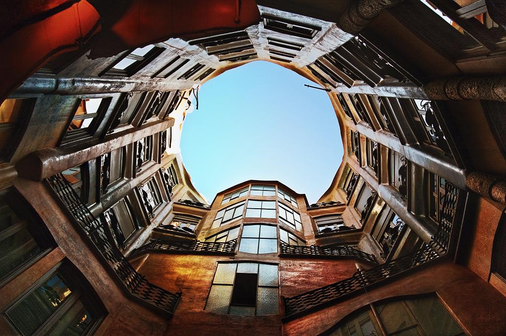 Casa Mila aka La Pedrera - Inner Courtyard, Barcelona, Spain