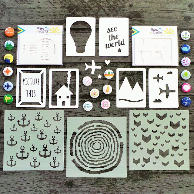 Stencils, Flairs, and Die Cut Cards at Happy Scatter