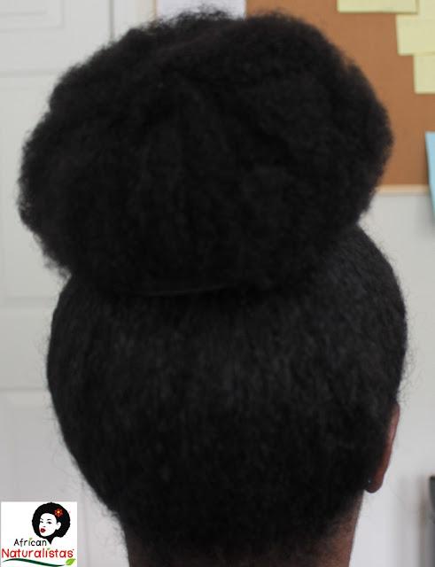 african naturalistas, natural hairstyle, high bun, natural hair, team natural, natural hair high bun, protective styles, long natural hair