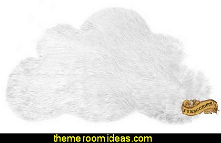Cloud Shaped Faux Fur Accent Throw Sheepskin Shag
