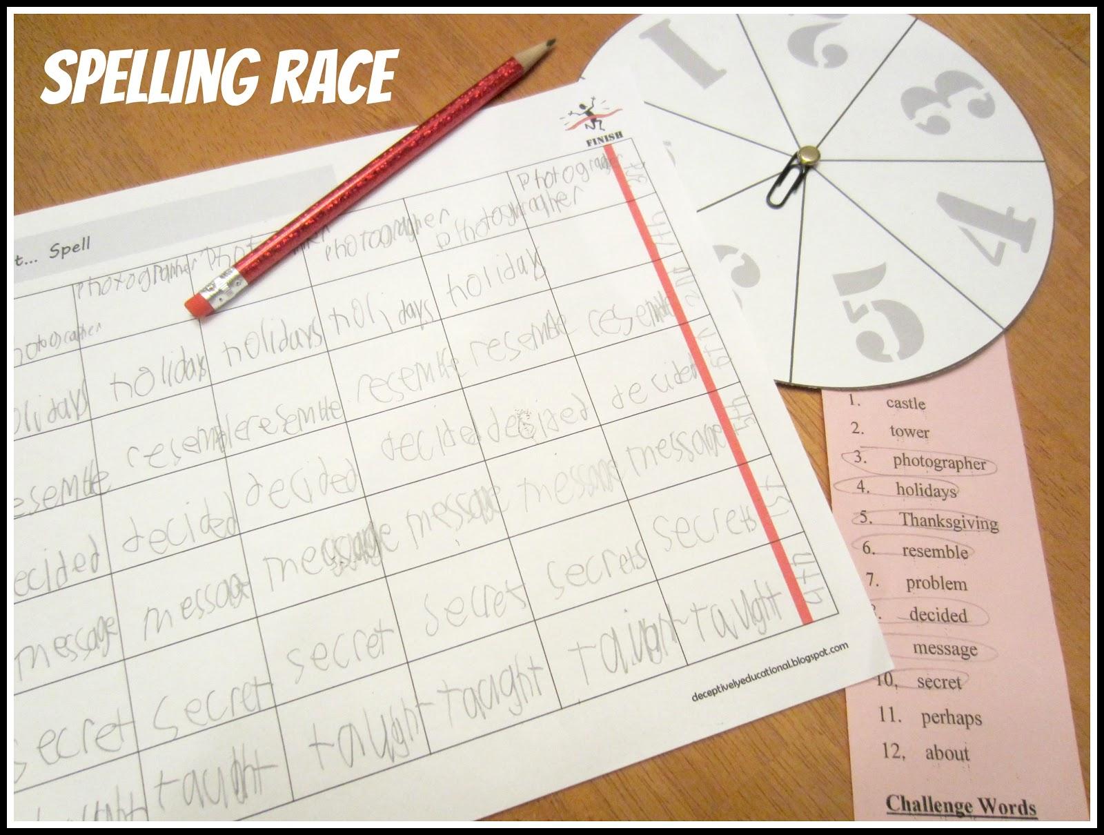 Relentlessly Fun Deceptively Educational Spelling Race