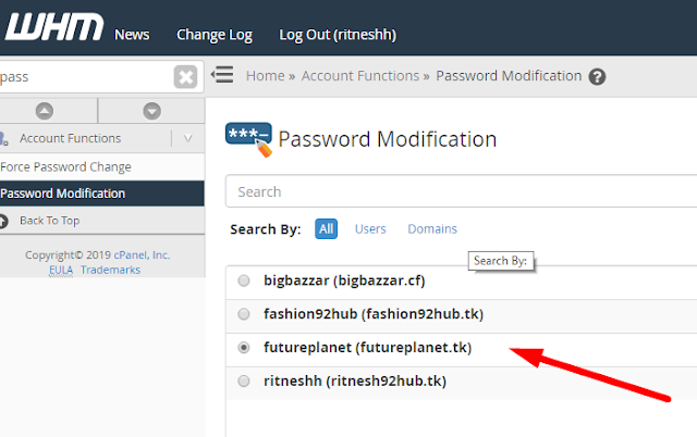 How to change password of cPanel account in WHM? How to