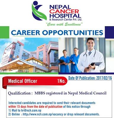 Medical officer Vacancy at Nepal cancer hospital