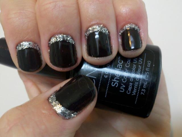 Black Shellac Nails With Silver Glitter Saratoga Springs Utah