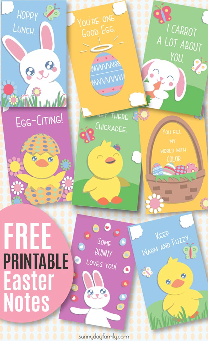 Super cute Easter lunch box notes for kids! These Easter notes are perfect Easter egg fillers, Easter cards, and would be super cute in a kid's Easter basket. Encouraging notes for kids with adorable Easter animals. Free printable! #easter #forkids #freeprintables #lunchboxlove