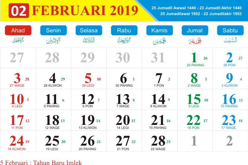Kalender jawa februari 2019