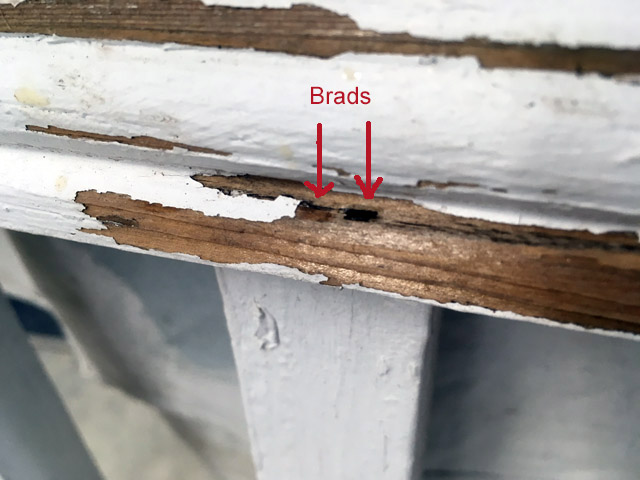 Porch railing rot repair brad holes hand rail