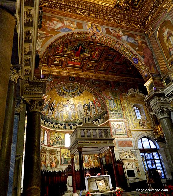 Mosaicos no altar da Igreja de Santa Maria in Trastevere, Roma