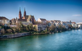 Wallpaper: Rhine and buildings architecture in Basel