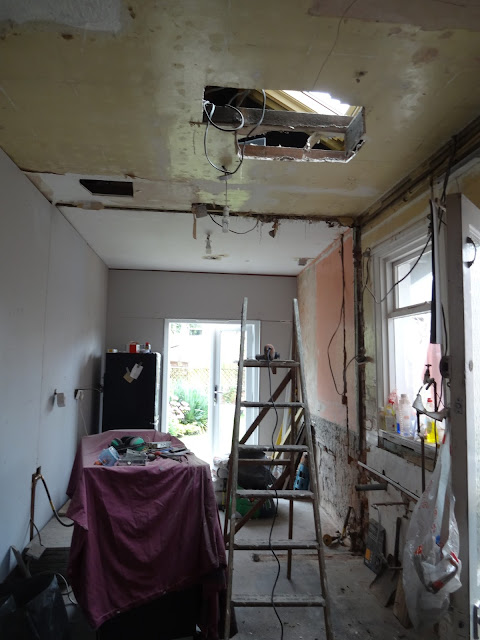 cutting out a ceiling for a roof window