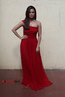 Actress Sana Khan Latest Pos in Georgius Spicy Red Long Dress at the Interview  0013.jpg
