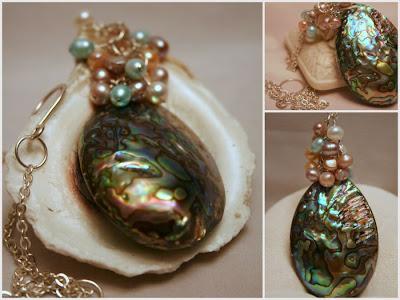 Okavango Delta: Abaolne, freshwater pearls, sterling silver, OOAK necklace :: All Pretty Things