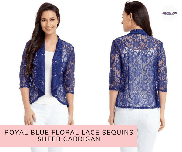 Royal Blue Floral Lace Sequins Sheer Cardigan | Lookbook Store