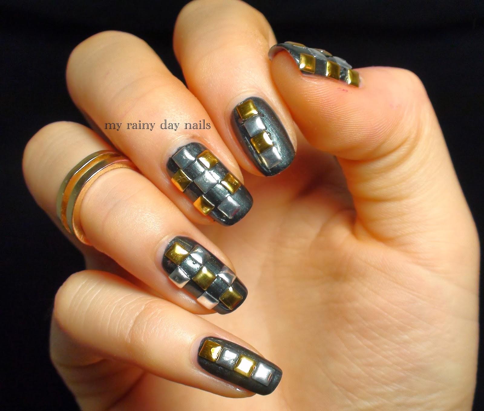 Nail Art February Challenge: My Rainy Day Nails: Nail Art Feb Challenge- Studs