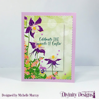 Divinity Designs Stamp Set: Miracle of Easter, Custom Dies: Scalloped Rectangles, Rectangles, Paper Collection: Spring Flowers 2019