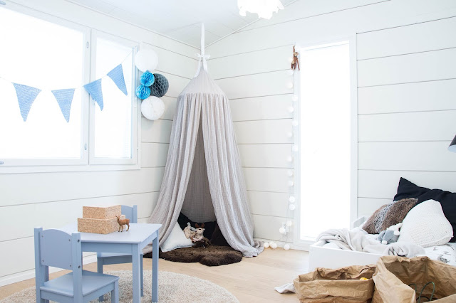 talo markki - scandinavian interior design - wall hanging canopy - toddlers room interior - modern design - jollyroom