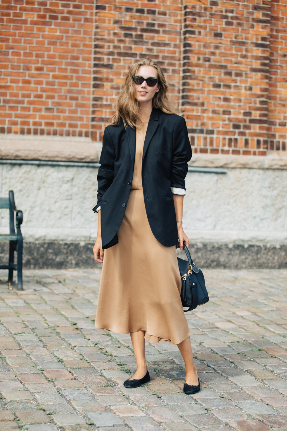 How to Wear a Silk Slip Dress Through Fall – Street Style Blazer Layer
