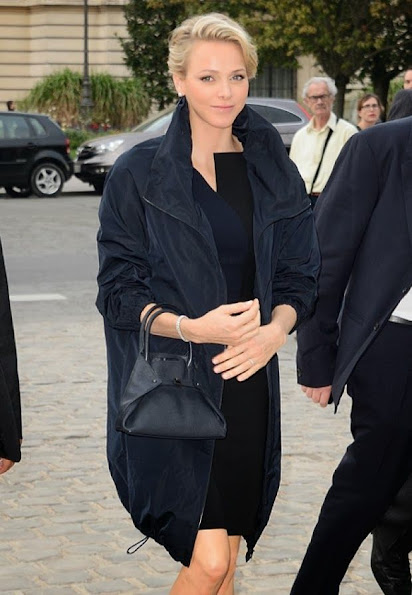Princess Charlene attended Akris Fashion show at Grand Palais in Paris