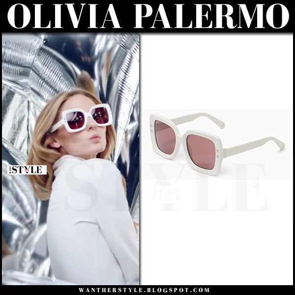 Olivia Palermo with white square oversized sunglasses max and co max&co ad campaign