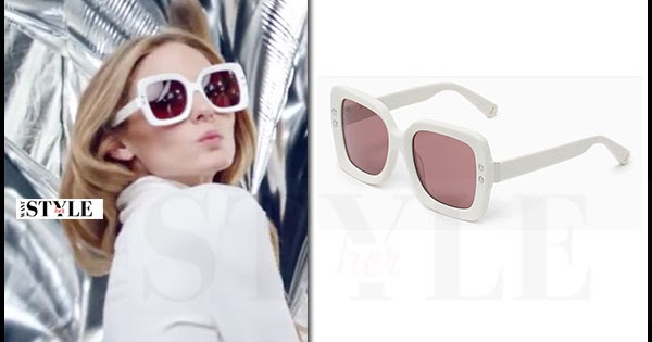 Olivia Palermo with white square oversized sunglasses in Max Co ad campaign  ~ I want her style - What celebrities wore and where to buy it. Celebrity  Style 643c199d5