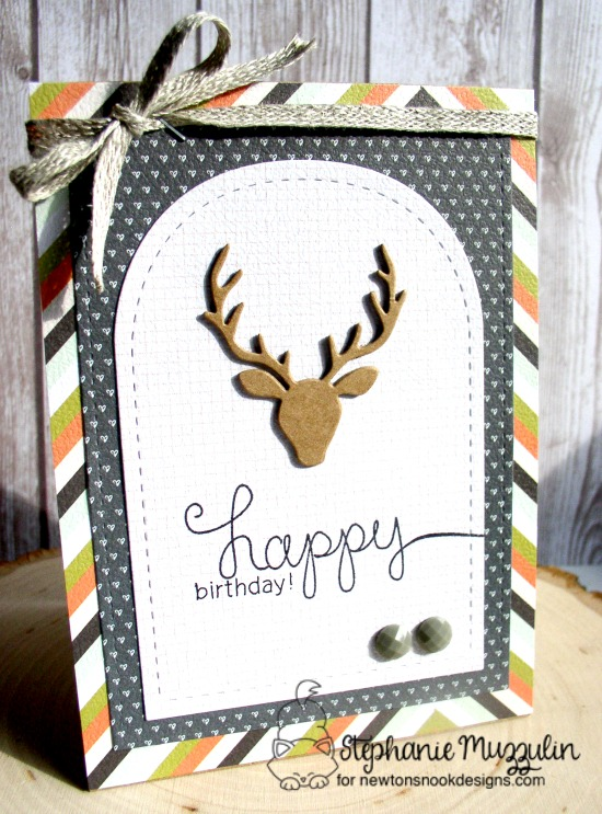 Happy Birthday Deer Card by Stephanie Muzzulin | Simply Sentimental Stamp Set & Splendid Stags Die Set by Newton's Nook Designs #newtonsnook