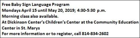 4-22 thru 5-20 Mondays Free Baby Sign Language Program